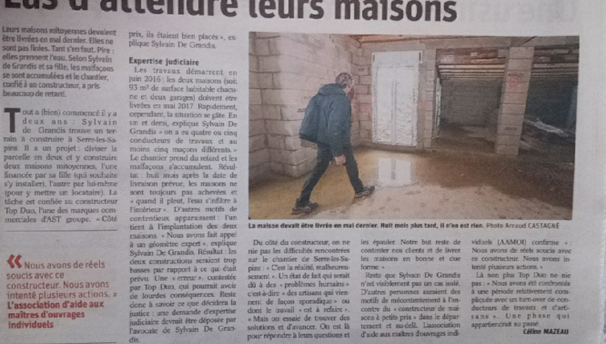 article de journal Vciitme de TOP DUO Sylvain De Grandis