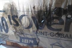 Laine   de  verre  mouillée  chantier